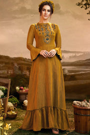 Viscose Embroidered Kurti in Mustard