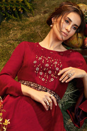 Viscose Embroidered Kurti in Red