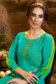 Viscose Embroidered Kurti in Turquoise