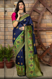 Buy Banarasi Art Silk Woven Saree In Navy Blue