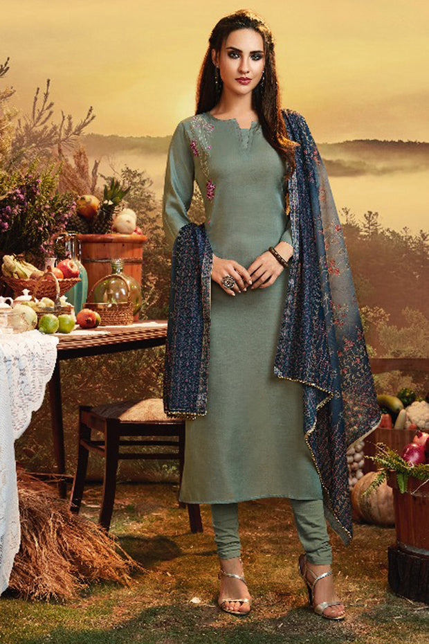 Satin Embroidered Kurta Set in silver