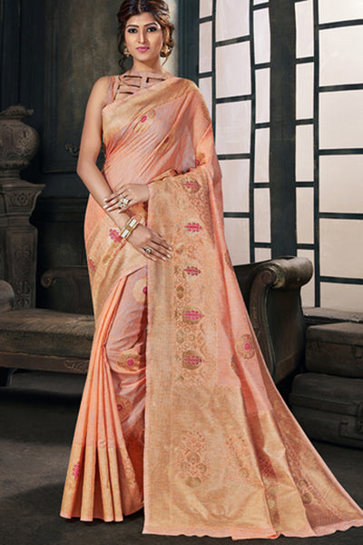 Cotton Art Silk Zari Saree in Peach