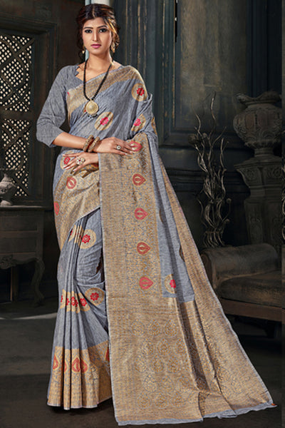 Cotton Art Silk Zari Saree in Grey