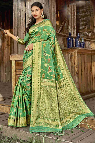 Buy Banarasi Art Silk Saree in Green