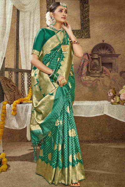 Buy Banarasi Art Silk Saree in Teal Green