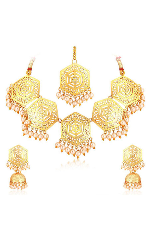 Alloy Necklace with Earrings and Maang Tikka Set in Gold