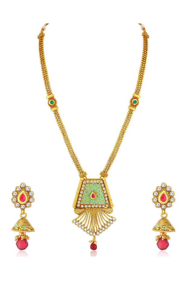 Alloy Necklace Set in Green and Pink