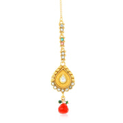 Sukkhi Alloy Necklace and Maang Tikka Set in Gold