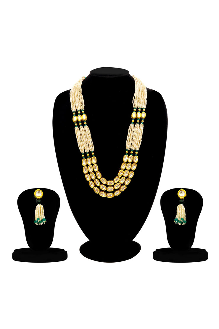 Women's Alloy Necklace and Earrings Set in Green