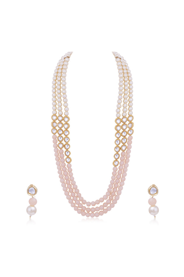 Women's Alloy Necklace and Earrings Set in Pink