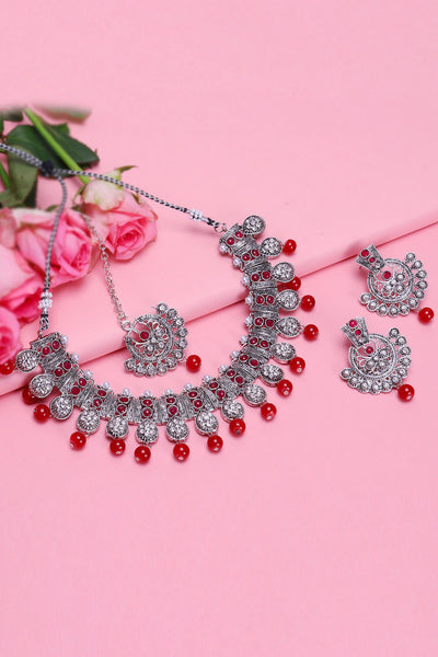 Women's Alloy Necklace and Earring Sets With Maang Tikka in Pink