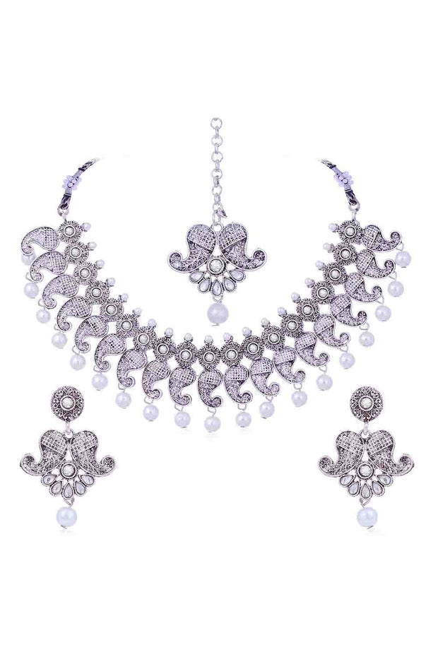 Women's Alloy Necklace Set with Maang Tikka in Silver