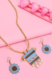 Women's Alloy Necklace and Earrings Set in Blue