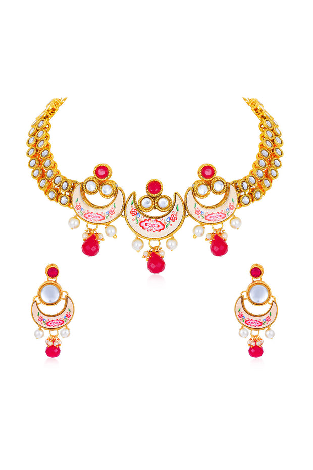 Sukkhi Alloy Necklace Set in Red and Pink