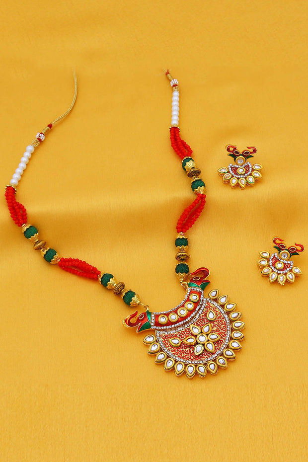 Sukkhi Alloy Necklace Set in Red and Green