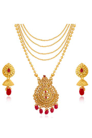 Women's Alloy Necklace and Earrings Set in Red