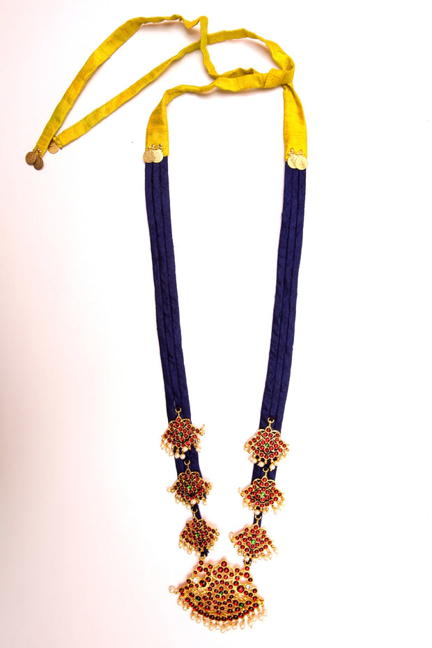 Organic Silk Necklace in Navy Blue