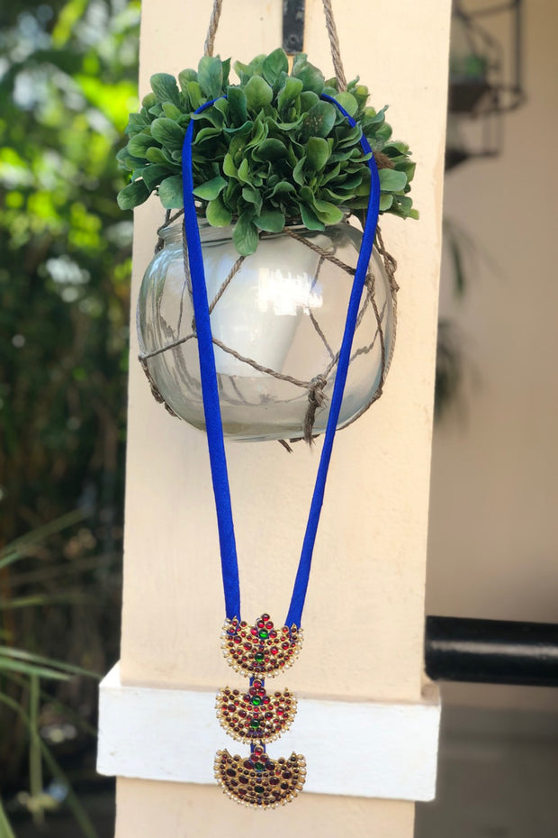 Organic Silk Necklace in Royal Blue
