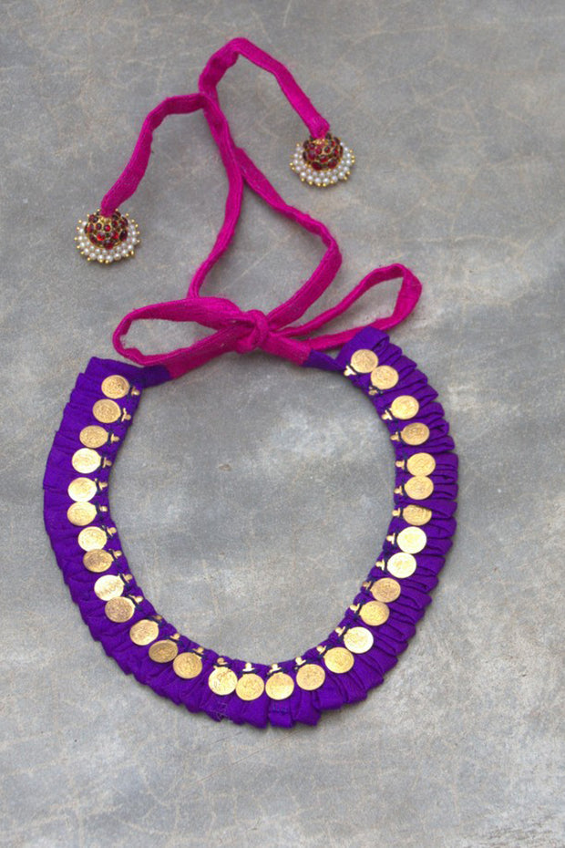 Organic Silk Necklace in Violet