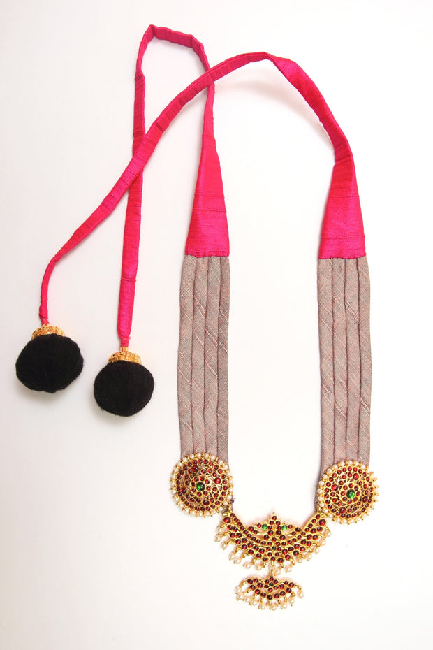 Organic Silk Necklace in Pink