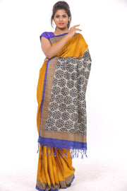 Organic Silk Saree in Mustard and Black