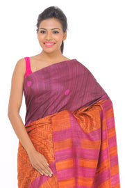 Organic Silk Saree in Orange and Pink