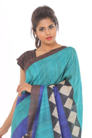 Organic Silk Saree in Blue and Brown