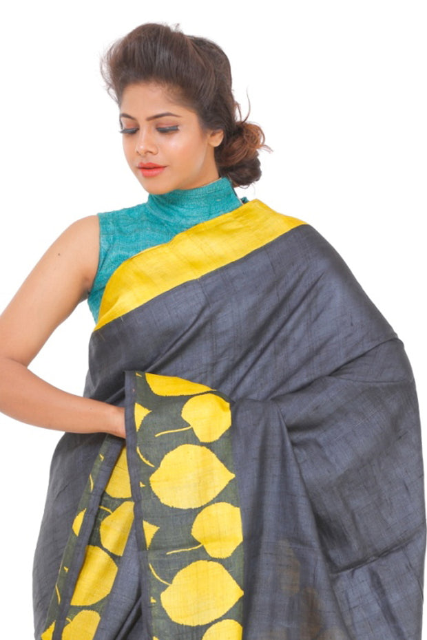 Organic Silk Saree in Yellow and Black