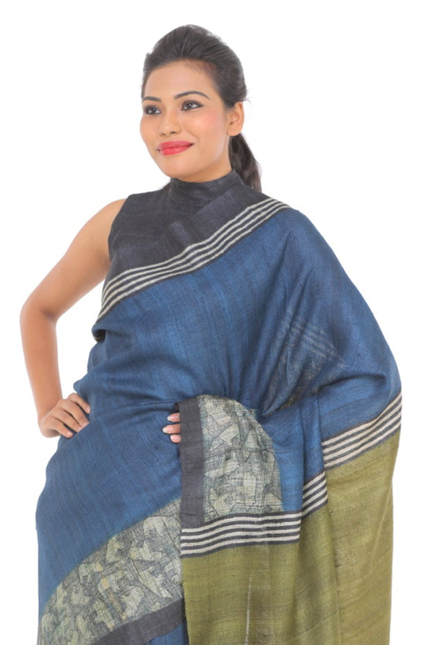 Organic Silk Saree in Navy Blue and Olive Green