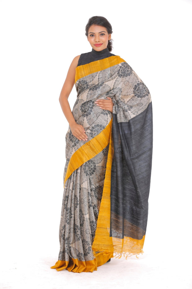 Organic Silk Saree in Black and Mustard
