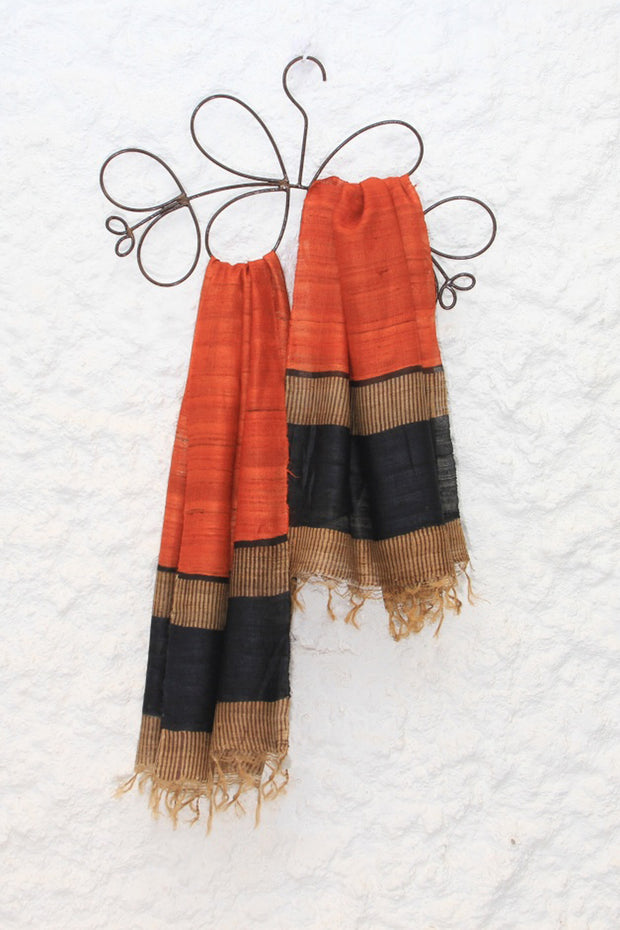 Tussar Silk Block Printed Stole in Orange And Black