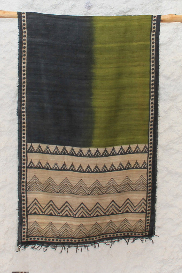 Tussar Silk Block Printed Stole in Olive Green And Black