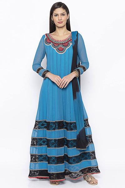 Buy Women's Faux Georgette Embroidered Kurta Set in Blue
