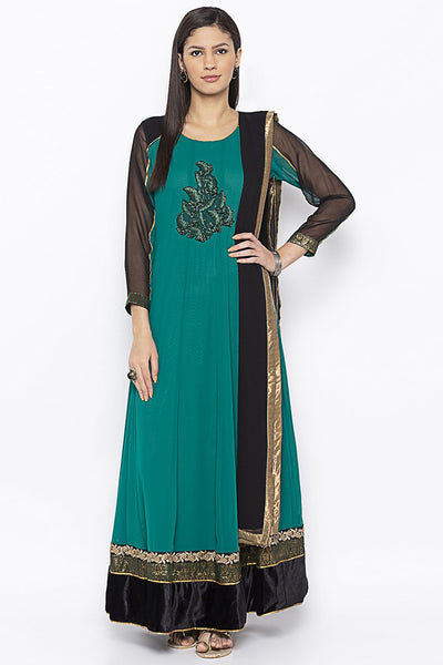 Buy Women's Faux Georgette Embroidered Kurta Set in Green
