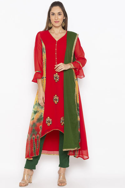 Buy Women's Faux Georgette Embroidered Kurta Set in Red