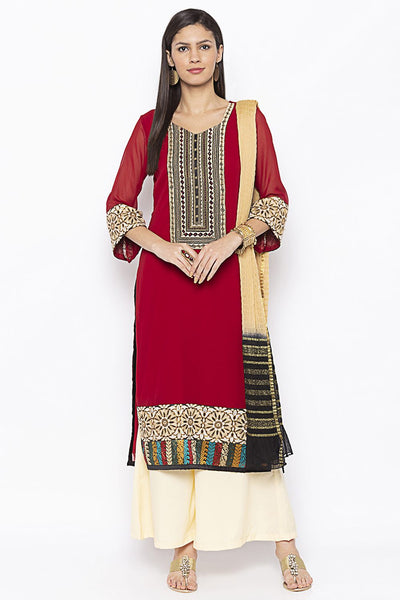Buy Women's Faux Georgette Embroidered Kurta Set in Maroon
