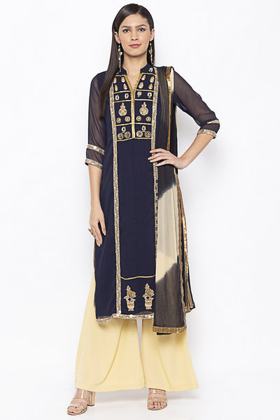 Buy Women's Faux Georgette Embroidered Kurta Set in Dark Blue