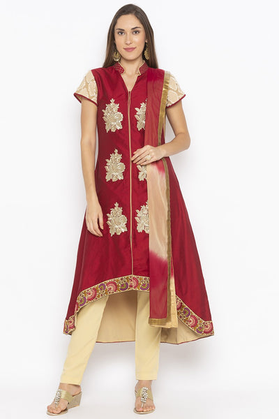 Buy Women's Cotton Art Silk Embroidered Kurta Set in Maroon