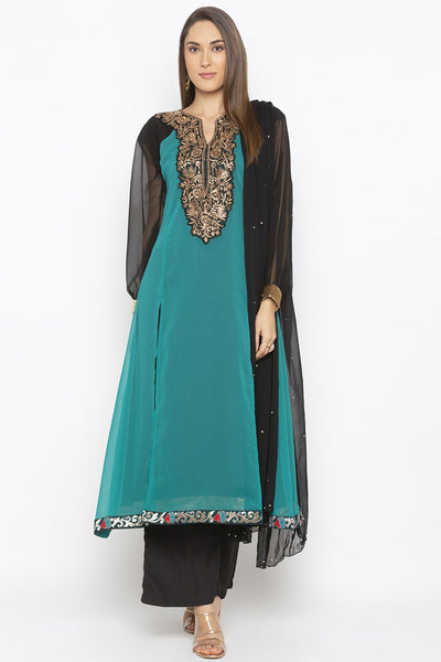 Buy Women's Faux Georgette Embroidered Kurta Set in Teal Green