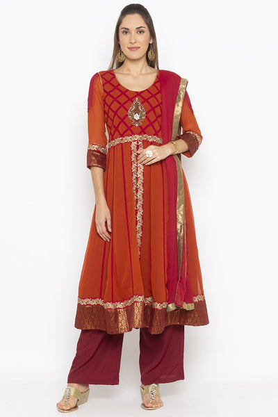 Buy Women's Faux Georgette Embroidered Kurta Set in Rust