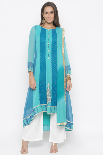 Buy Women's Faux Georgette Embroidered Kurta Set in Light Blue