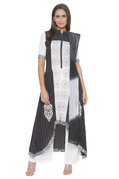 Buy Women's Blended Cotton Embroidered Kurta Set in Black