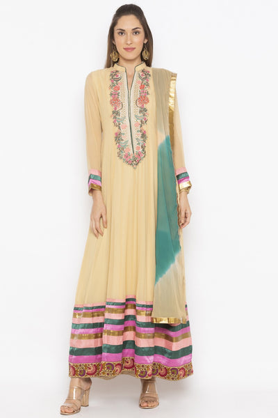 Buy Women's Faux Georgette Embroidered Kurta Set in Beige