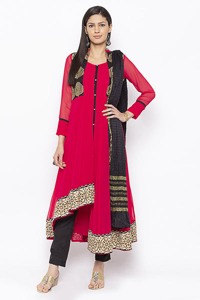 Buy Women's Faux Georgette Embroidered Kurta Set in Coral
