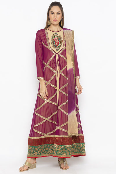Buy Women's Faux Georgette Embroidered Kurta Set in Purple