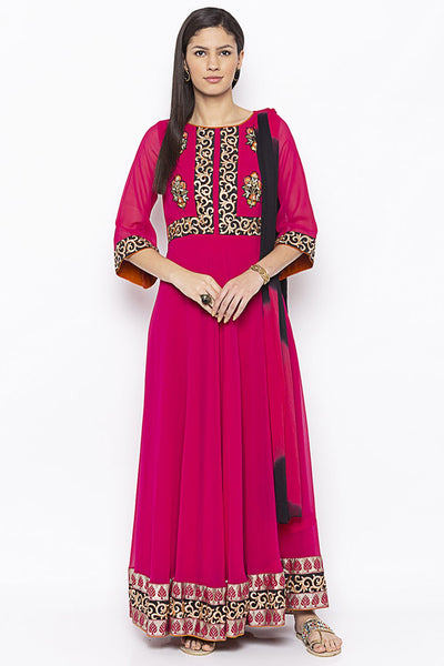 Buy Women's Faux Georgette Embroidered Kurta Set in Pink