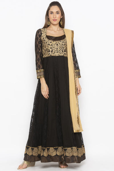 Buy Women's Net Embroidered Kurta Set in Black
