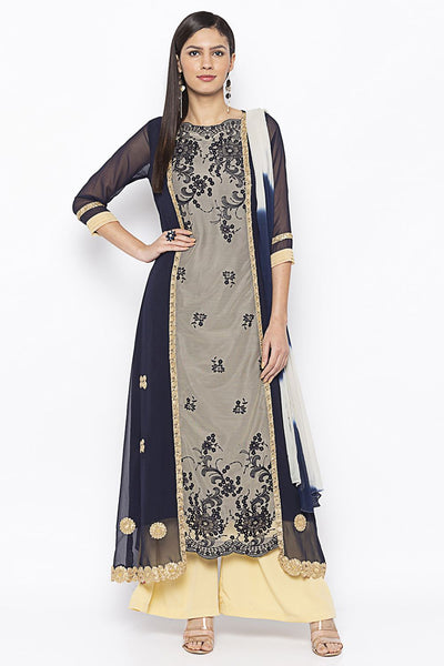 Buy Women's Net Embroidered Kurta Set in Dark Blue