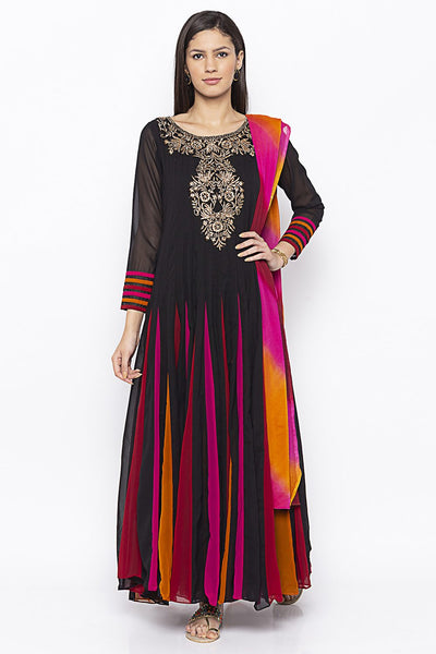 Buy Women's Faux Georgette Embroidered Kurta Set in Black