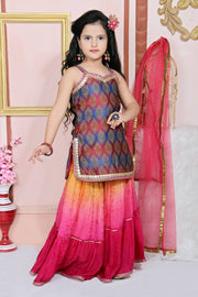 Buy Girl's Brocade Embroidered Kurta Set in Multi
